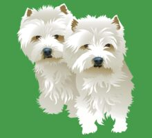 westies (mother and daughter) Kids Tee