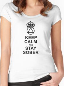 Keep Calm, Stay Sober Women's Fitted Scoop T-Shirt