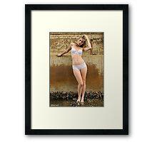 2011 lingerie calendar - white peach Framed Print