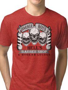 Barber Skulls: Hell's Barber Shop & Hookah Lounge Tri-blend T-Shirt
