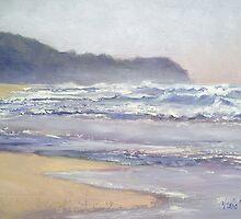 Sunrise Beach breaking waves  Sunshine Coast Queensland Oil painting by Chris Hobel