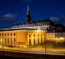 Night view on Christiansborg Palace in Copenhagen, DENMARK by Atanas Bozhikov Nasko
