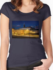 Night view on Christiansborg Palace in Copenhagen, DENMARK Women's Fitted Scoop T-Shirt