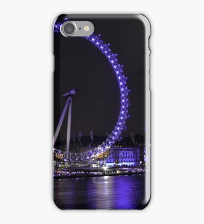 London Eye at Night with Full Moon iPhone Case/Skin