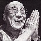 Dalai Lama, Ink Drawing by RIYAZ POCKETWALA