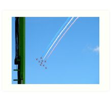 Red Arrows and the green column Art Print