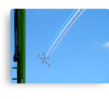 Red Arrows and the green column Canvas Print