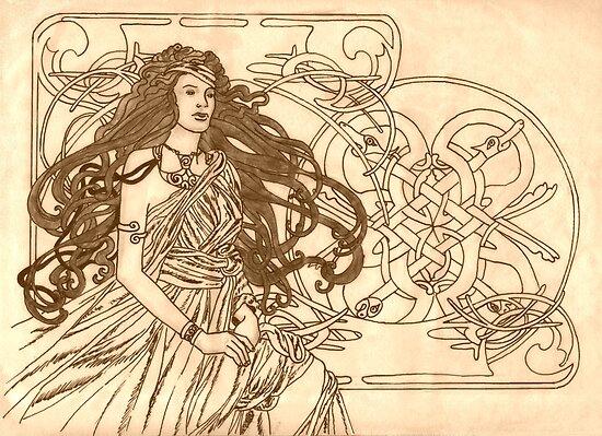 Art Nouveau Celt by redqueenself