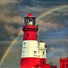 Rainbow Shining Through Lighthouse ~ Farne Islands by Sandra Cockayne