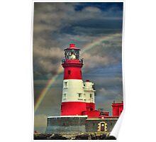 Rainbow Shining Through Lighthouse ~ Farne Islands Poster