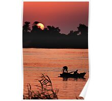 Man and Boy Fishing on the Nile Poster