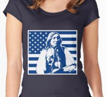 LONE WOLF (FLAG) Women's Fitted Scoop T-Shirt