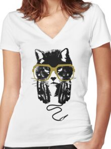 Hip Hop Angry Cat Design Women's Fitted V-Neck T-Shirt