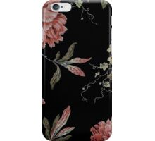 black and pink floral iPhone Case/Skin