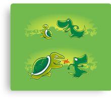 Turtle vs T-rex Canvas Print