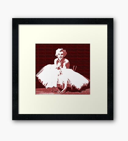 Marilyn Monroe in white dress with red text Framed Print