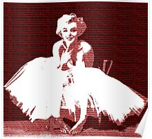 Marilyn Monroe in white dress with red text Poster