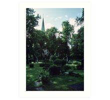 Across Bishop's cemetary to Cathedral Nidaros Cathedral Trondheim Norway 19840622 0032 Art Print