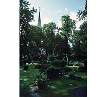 Across Bishop's cemetary to Cathedral Nidaros Cathedral Trondheim Norway 198406220032 Photographic Print