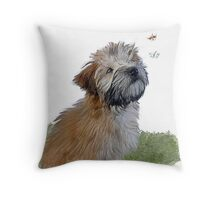 Soft coated wheaten terrier puppy & butterfly Throw Pillow