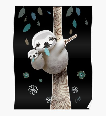 Baby Sloth Midnight Poster