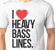 I Love Heavy Basslines. (White) Unisex T-Shirt