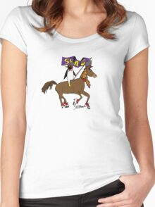 Penguin Horse Swag Flag Women's Fitted Scoop T-Shirt