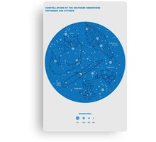 Constellations of the Southern Hemisphere- Sept & Oct (Blue) Canvas Print