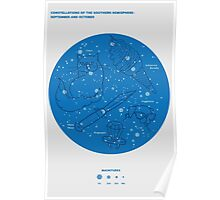 Constellations of the Southern Hemisphere- Sept & Oct (Blue) Poster