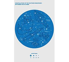Constellations of the Southern Hemisphere- Sept & Oct (Blue) Photographic Print