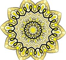 yellow and brown mandala by resonanteye