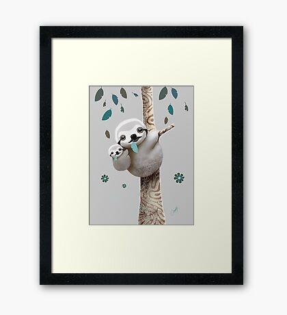Baby Sloth Twilight Framed Print