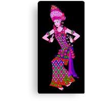 Balinese Dancer & Frangipani (Purple) Canvas Print