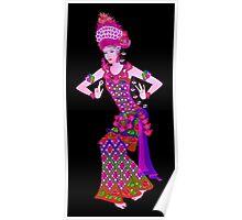 Balinese Dancer & Frangipani (Purple) Poster