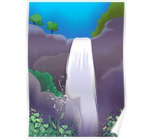 Nature's beauty with water falls on the hills Poster