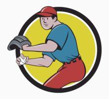 Baseball Player OutFielder Throwing Ball Circle Cartoon by patrimonio