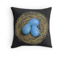 Blue Bird's Eggs in Nest, Color Pencil on Black Throw Pillow