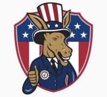 Democrat Donkey Mascot Thumbs Up Flag Cartoon by patrimonio
