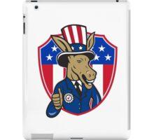 Democrat Donkey Mascot Thumbs Up Flag Cartoon iPad Case/Skin