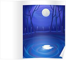 The beauty of the river in the moonlight  Poster