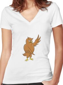 Owl Standing Pointing Wing Cartoon Women's Fitted V-Neck T-Shirt