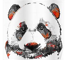 Panda Bear Art - Black White Red - By Sharon Cummings Poster