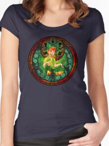 Peter Pan Stained Glass Women's Fitted Scoop T-Shirt