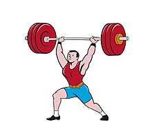 Weightlifter Lifting Barbell Isolated Cartoon Photographic Print