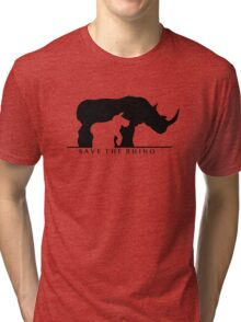Save The Rhino (White Background) Tri-blend T-Shirt
