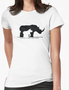 Save The Rhino (White Background) Womens Fitted T-Shirt