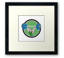 Weightlifter Lifting Barbell Circle Cartoon Framed Print