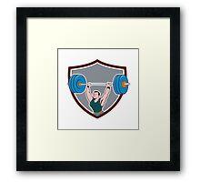 Weightlifter Lifting Barbell Shield Cartoon Framed Print