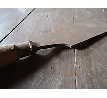 Chisel lying on the wooden floor Photographic Print