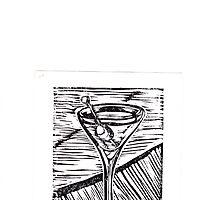 Classic Martini linocut by katemaindonald